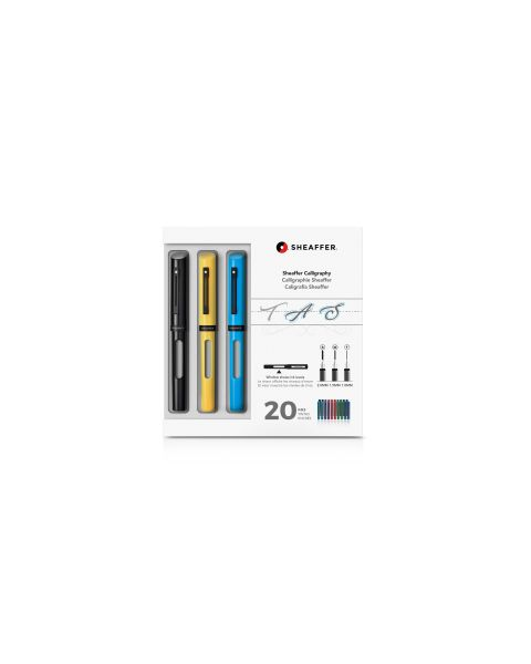 Sheaffer® Calligraphy Maxi Kit with Black, Yellow, and Blue Pens and Assorted Nibs and Inks