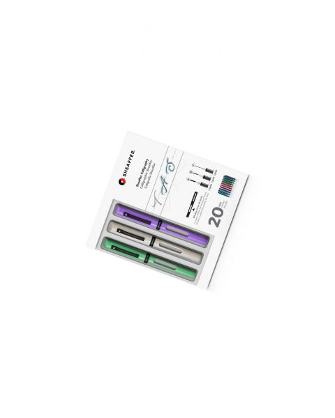 Sheaffer® Calligraphy Maxi Kit with Neo-Mint, White, and Lavender Pens and Assorted Nibs and Inks