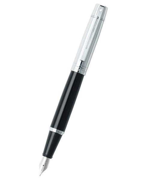 Sheaffer® 300 Glossy Black Barrel and Bright Chrome Cap Fountain Pen